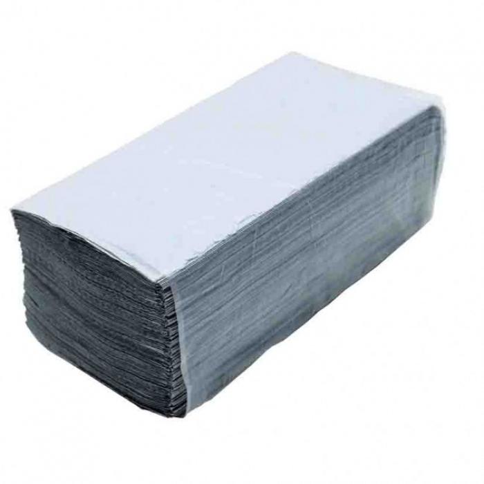 Полотенца бумажные серые однослойные, V складка