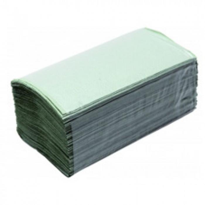 Полотенца бумажные зеленые однослойные, V укладка
